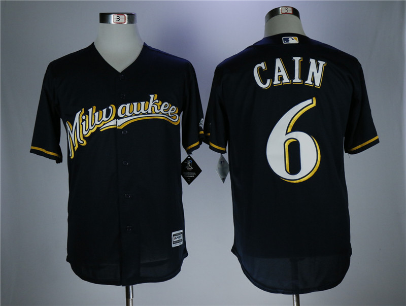 Men's Milwaukee Brewers #6 Lorenzo Cain navy Coolbase Stitched MLB Jersey