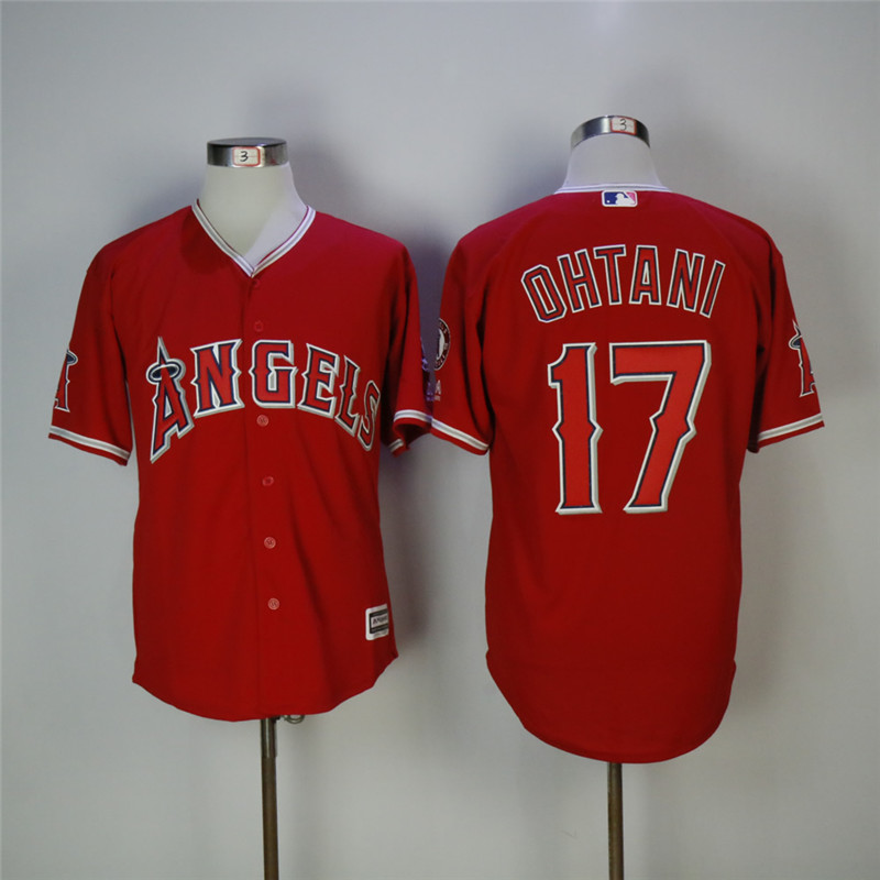 Men's Los Angeles Angels #17 Shohei Ohtani Red Cool Base Stitched MLB Jersey