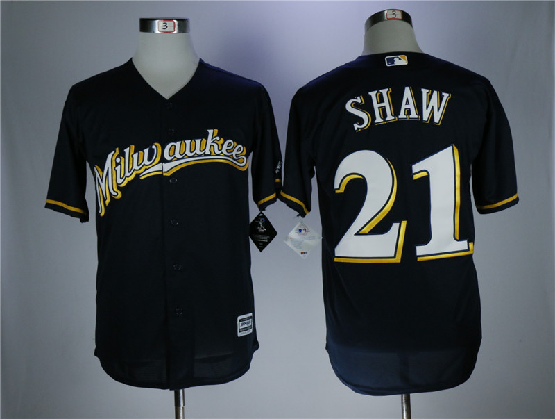 Men's Milwaukee Brewers #21 Travis Shaw Navy Coolbase Stitched MLB Jersey