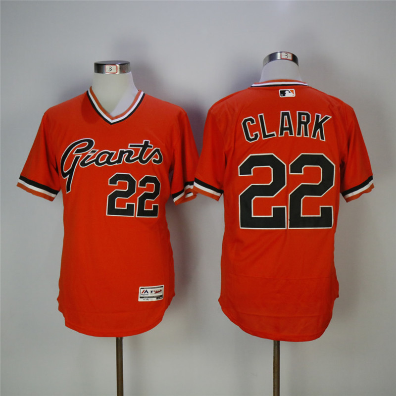 Men's San Francisco Giants #22 Will Clark Orange 1978 Turn Back The Clock Flexbase Stitched MLB Jersey