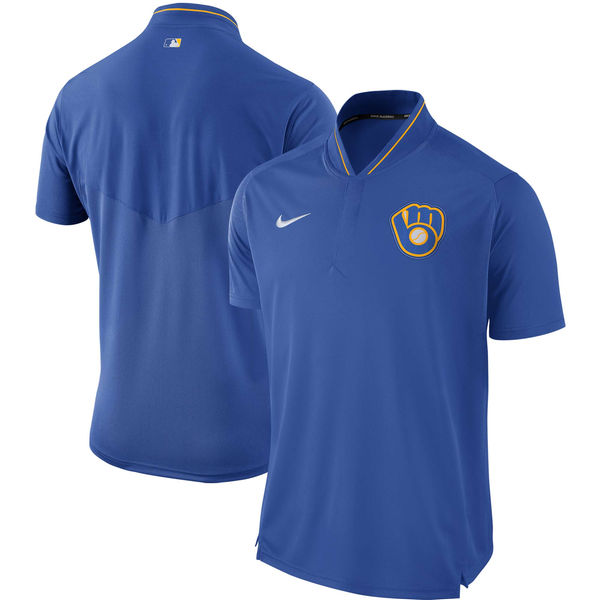 Men's Milwaukee Brewers Royal Authentic Collection Elite Performance Polo