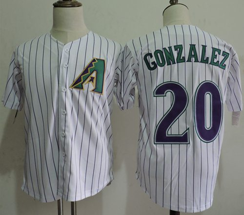 Mitchell And Ness Diamondbacks #20 Luis Gonzalez White Strip Throwback Stitched MLB Jersey