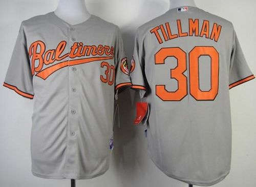 Orioles #30 Chris Tillman Grey Cool Base Stitched MLB Jersey