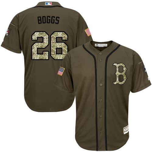 Red Sox #26 Wade Boggs Green Salute to Service Stitched Grey Jersey