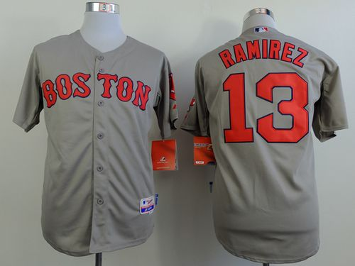 Red Sox #13 Hanley Ramirez Grey Cool Base Stitched MLB Jersey