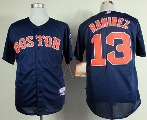Red Sox #13 Hanley Ramirez Dark Blue Cool Base Stitched MLB Jersey