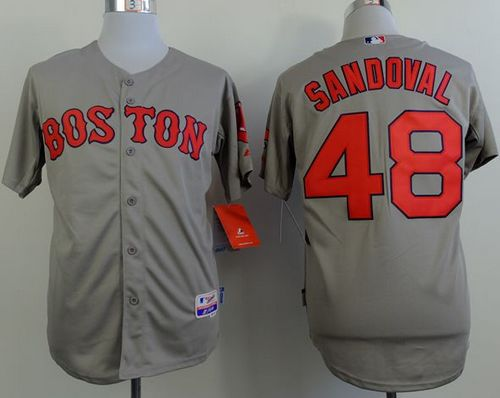 Red Sox #48 Pablo Sandoval Grey Cool Base Stitched MLB Jersey