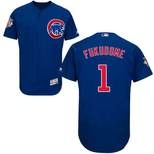 Cubs #1 Kosuke Fukudome Blue Flexbase Authentic Collection Stitched MLB Jersey