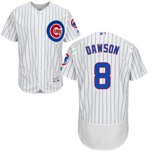 Cubs #8 Andre Dawson White(Blue Strip) Flexbase Authentic Collection Stitched MLB Jersey