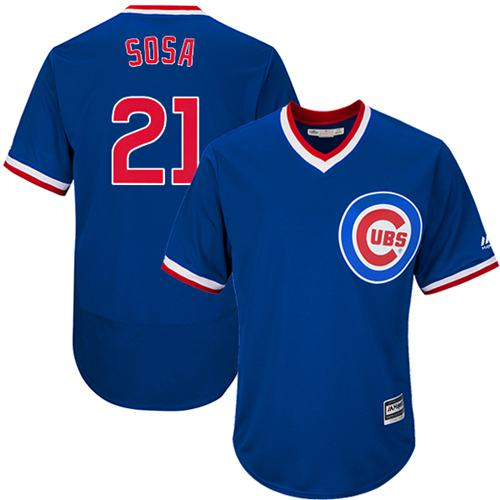 Cubs #21 Sammy Sosa Blue Flexbase Authentic Collection Cooperstown Stitched MLB Jersey