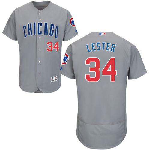 Cubs #34 Jon Lester Grey Flexbase Authentic Collection Road Stitched MLB Jersey