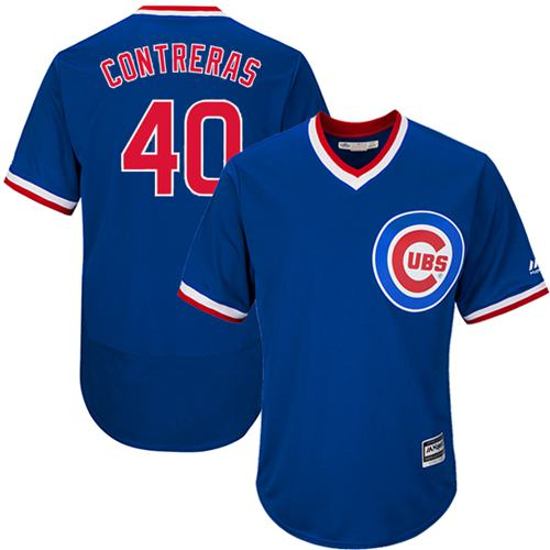 Cubs #40 Willson Contreras Blue Flexbase Authentic Collection Cooperstown Stitched MLB Jersey