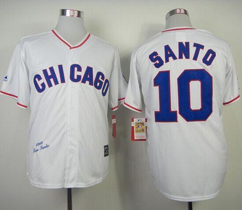 Mitchell And Ness 1968 Cubs #10 Ron Santo White Throwback Stitched MLB Jersey