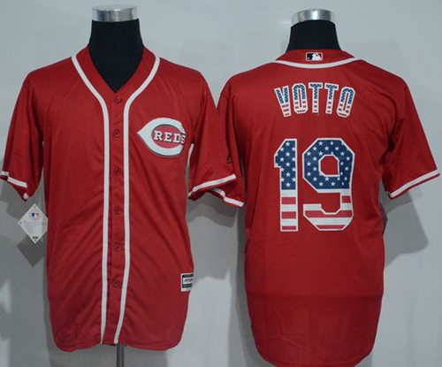 Reds #19 Joey Votto Red USA Flag Fashion Stitched MLB Jersey