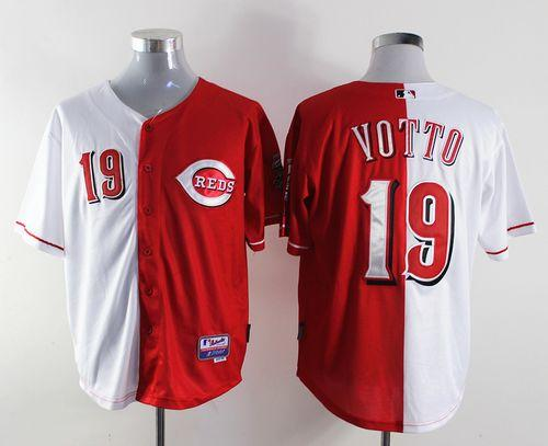 Reds #19 Joey Votto Red/White Split Fashion Stitched MLB Jersey