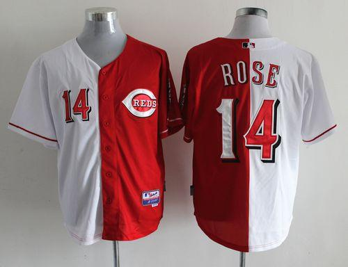 Reds #14 Pete Rose Red/White Split Fashion Stitched MLB Jersey
