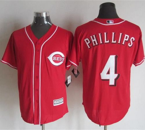Reds #4 Brandon Phillips Red New Cool Base Stitched MLB Jersey