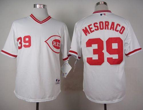 Reds #39 Devin Mesoraco White 1990 Turn Back The Clock Stitched MLB Jersey