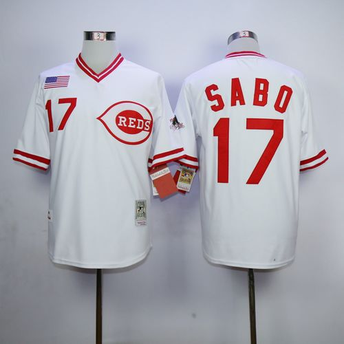 Mitchell And Ness 1990 Reds #17 Chris Sabo White Throwback Stitched MLB Jersey