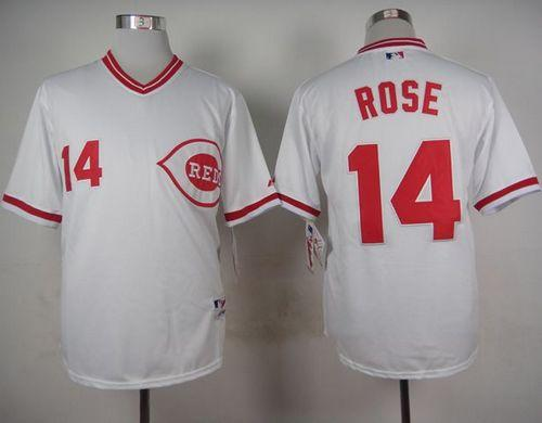 Reds #14 Pete Rose White 1990 Turn Back The Clock Stitched MLB Jersey
