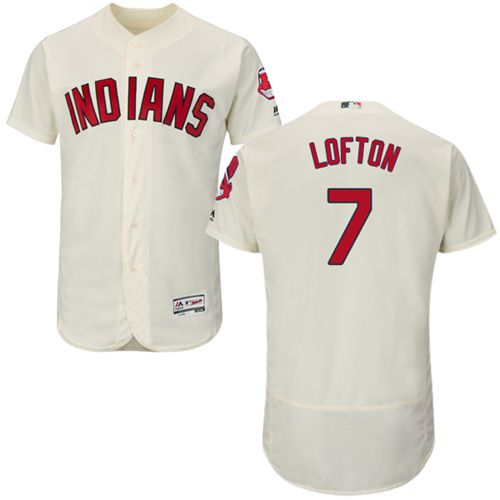 Indians #7 Kenny Lofton Cream Flexbase Authentic Collection Stitched MLB Jersey