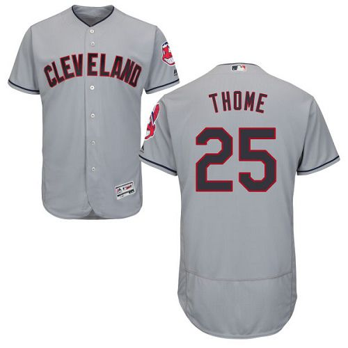 Indians #25 Jim Thome Grey Flexbase Authentic Collection Stitched MLB Jersey
