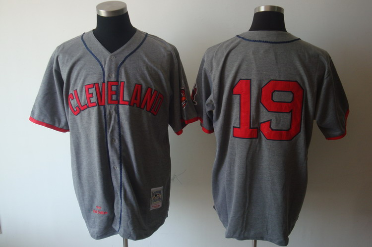Mitchell and Ness Indians #19 Bob Feller Grey Stitched Throwback MLB Jersey