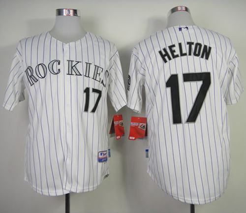 Rockies #17 Todd Helton White Strip Cool Base Stitched MLB Jersey