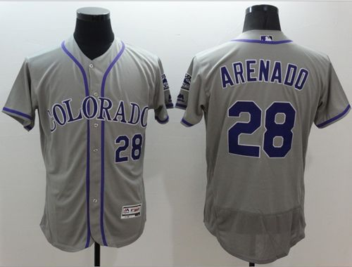 Rockies #28 Nolan Arenado Grey Flexbase Authentic Collection Stitched MLB Jersey