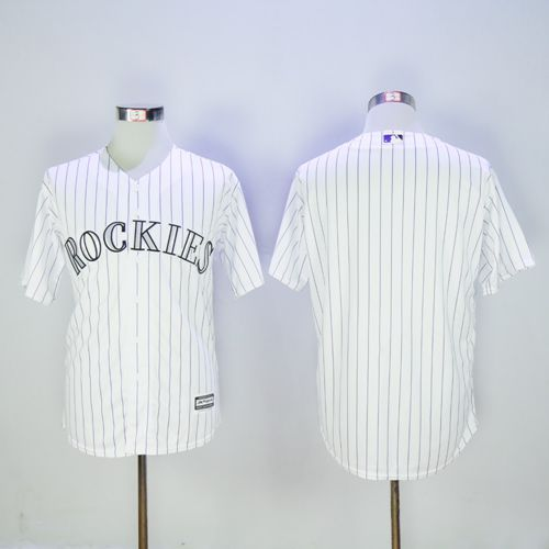 Rockies Blank White New Cool Base Stitched MLB Jersey