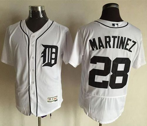 Tigers #28 J. D. Martinez White Flexbase Authentic Collection Stitched MLB Jersey