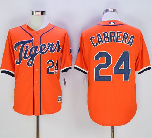 Tigers #24 Miguel Cabrera Orange New Cool Base Stitched MLB Jersey