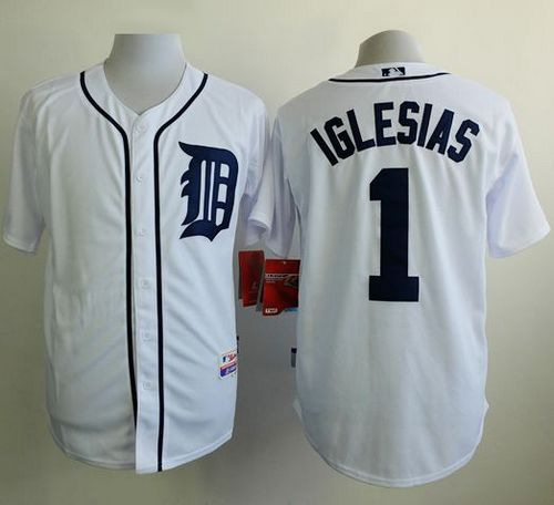 Tigers #1 Jose Iglesias White Cool Base Stitched MLB Jersey