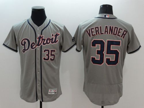 Tigers #35 Justin Verlander Grey Flexbase Authentic Collection Stitched MLB Jersey