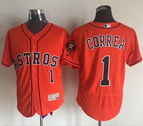 Astros #1 Carlos Correa Orange Flexbase Authentic Collection Stitched MLB Jersey