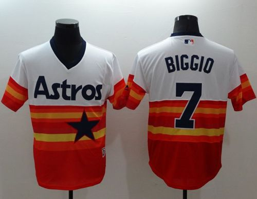 Astros #7 Craig Biggio White/Orange Flexbase Authentic Collection Cooperstown Stitched MLB Jersey