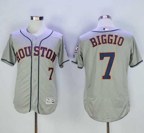 Astros #7 Craig Biggio Grey Flexbase Authentic Collection Stitched MLB Jersey