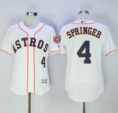 Astros #4 George Springer White Flexbase Authentic Collection Stitched MLB Jersey