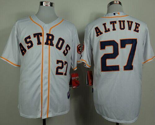 Astros #27 Jose Altuve White Cool Base Stitched MLB Jersey