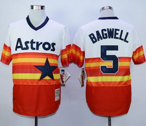 Mitchell And Ness 1980 Astros #5 Jeff Bagwell White/Orange Throwback Stitched MLB Jersey