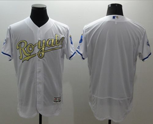 Royals Blank White FlexBase Authentic 2015 World Series Champions Gold Program Stitched MLB Jersey