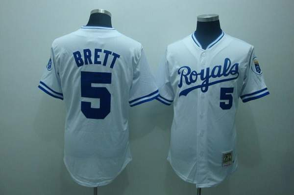 Mitchell and Ness Royals #5 George Brett Stitched White Throwback MLB Jersey