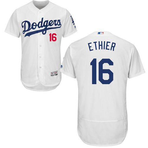 Dodgers #16 Andre Ethier White Flexbase Authentic Collection Stitched MLB Jersey