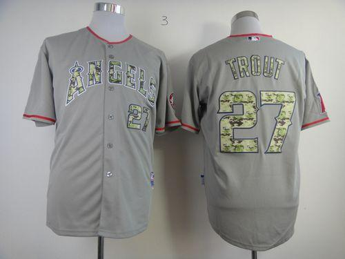 Angels of Anaheim #27 Mike Trout Grey USMC Cool Base Stitched MLB Jersey