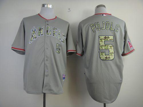 Angels of Anaheim #5 Albert Pujols Grey USMC Cool Base Stitched MLB Jersey