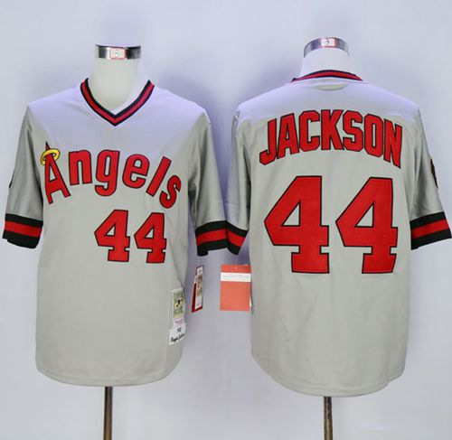 Mitchell and Ness Angels of Anaheim #44 Reggie Jackson Stitched Grey MLB Jersey