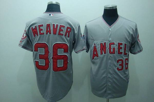Angels of Anaheim #36 Weaver Jered Grey Cool Base 2010 All Star Patch Stitched MLB Jersey