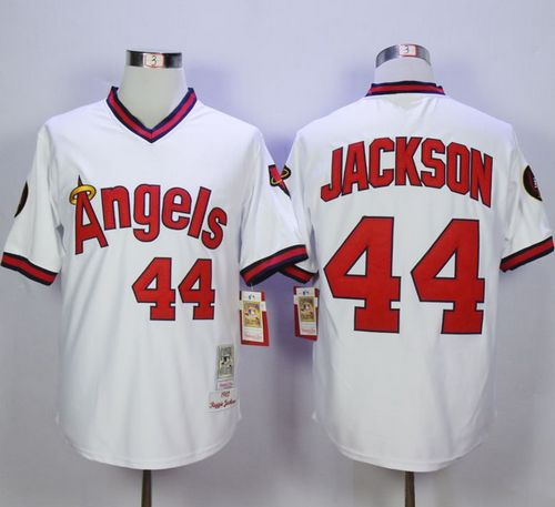 Mitchell and Ness Angels of Anaheim #44 Reggie Jackson White Stitched MLB Jersey