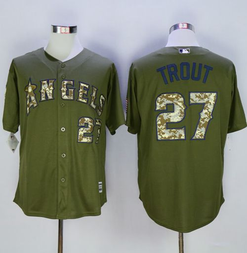 Angels of Anaheim #27 Mike Trout Green Camo New Cool Base Stitched MLB Jersey