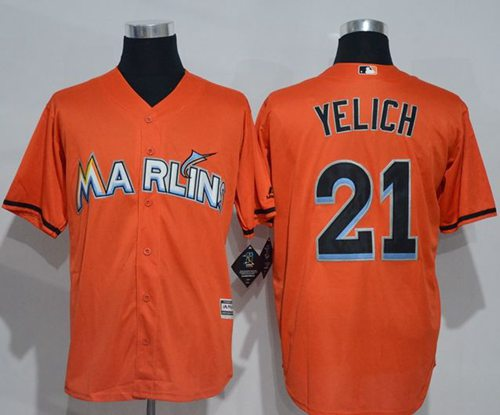 marlins #21 Christian Yelich Orange New Cool Base Stitched MLB Jersey